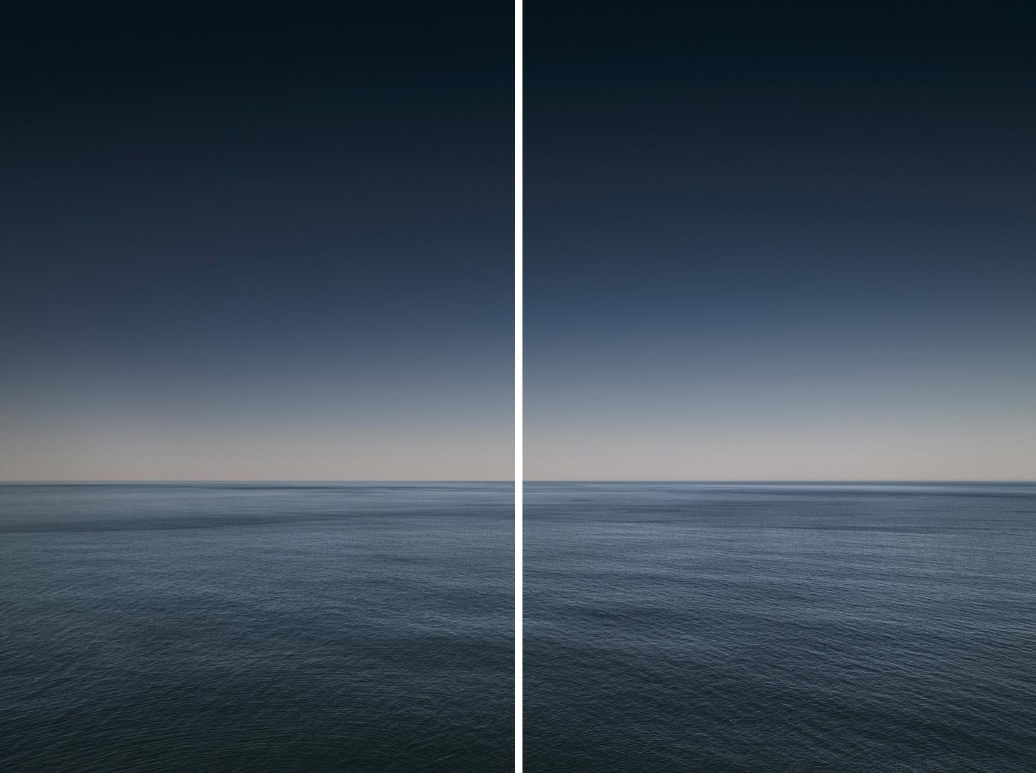 """Seascape I Diptych - abstract photograph of water color cloud horizon 87"""" x 116"""""""