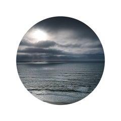 "Seascape II - abstract ocean cloudscape in circular glass frame (45"" diameter)"