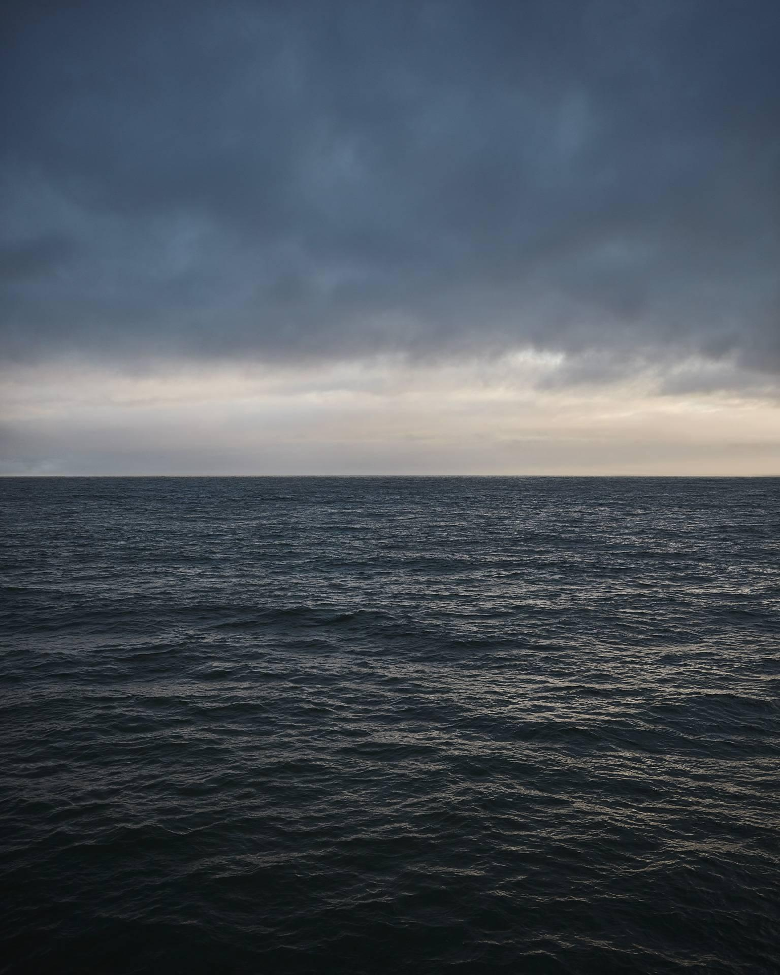 Seascape IV (framed) - large format abstract photograph of water clouds horizon