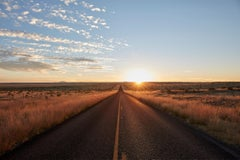 Marfa { The Road } - large scale photograph of endless road and horizon sunset