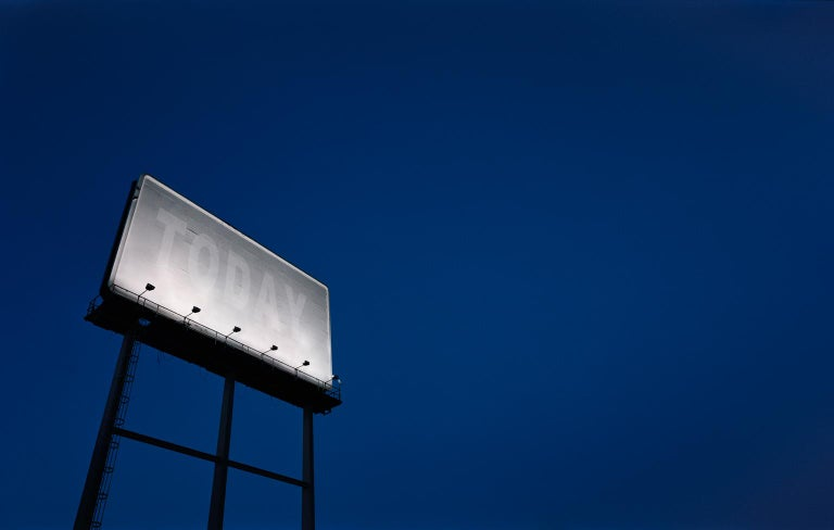 Frank Schott Color Photograph - TODAY - large format photograph of conceptual motivational billboard at night