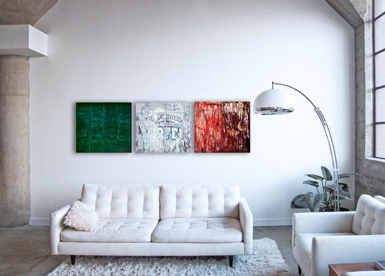 Tricolore (triptych) - abstraction of urban Italian color palette and textures  - Contemporary Photograph by Frank Schott