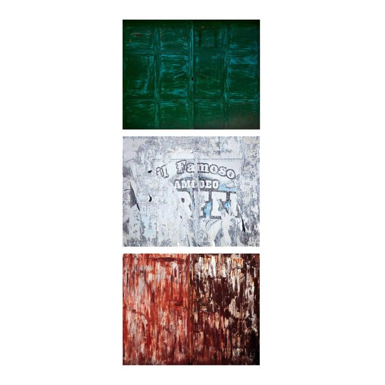 Tricolore (triptych) - abstraction of urban Italian color palette and textures  - Beige Color Photograph by Frank Schott