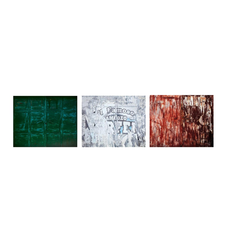 large format abstract photograph of urban color palette and textures reflecting the tricolore flag, Italy's national colors  Tricolore by Frank Schott  3 individual photographs  25in x 31.2in /each edition of 10 / signed horizontal installation H