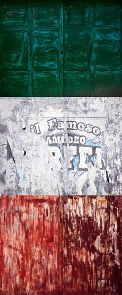 Tricolore (triptych) - abstraction of urban Italian color palette and textures