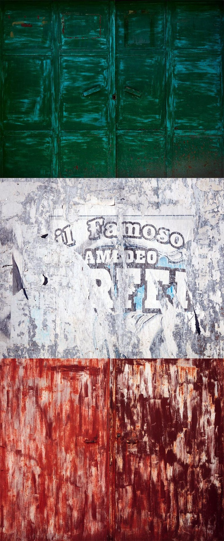 Frank Schott Color Photograph - Tricolore (triptych) - abstraction of urban Italian color palette and textures