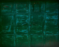 Wallscape VII (Green Door) - abstraction of urban textures and palimpsest colors
