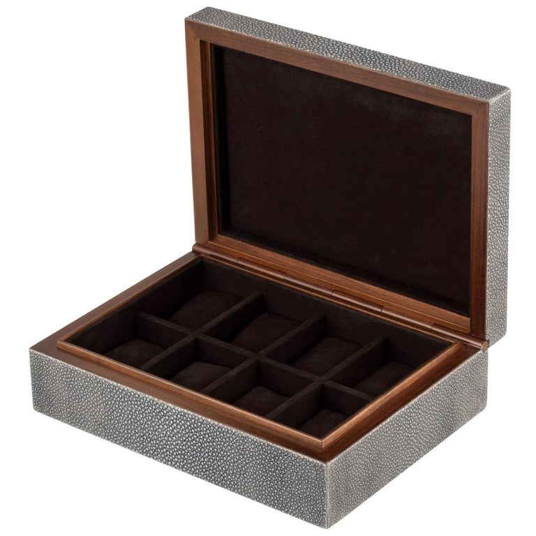 Frank Shagreen Leather Watch Box For Sale