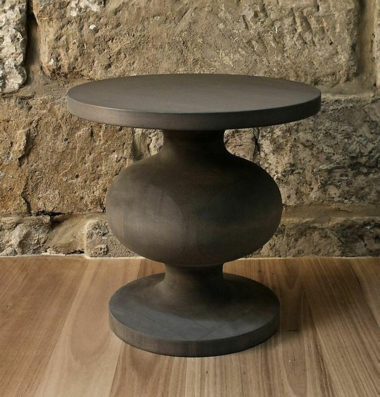 Organic Modern Natural, Matte Lacquered or Ebonized Pedestal Side Table, Frank by Wende Reid For Sale