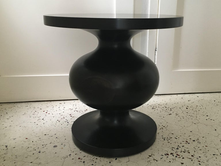 Australian Natural, Matte Lacquered or Ebonized Pedestal Side Table, Frank by Wende Reid For Sale