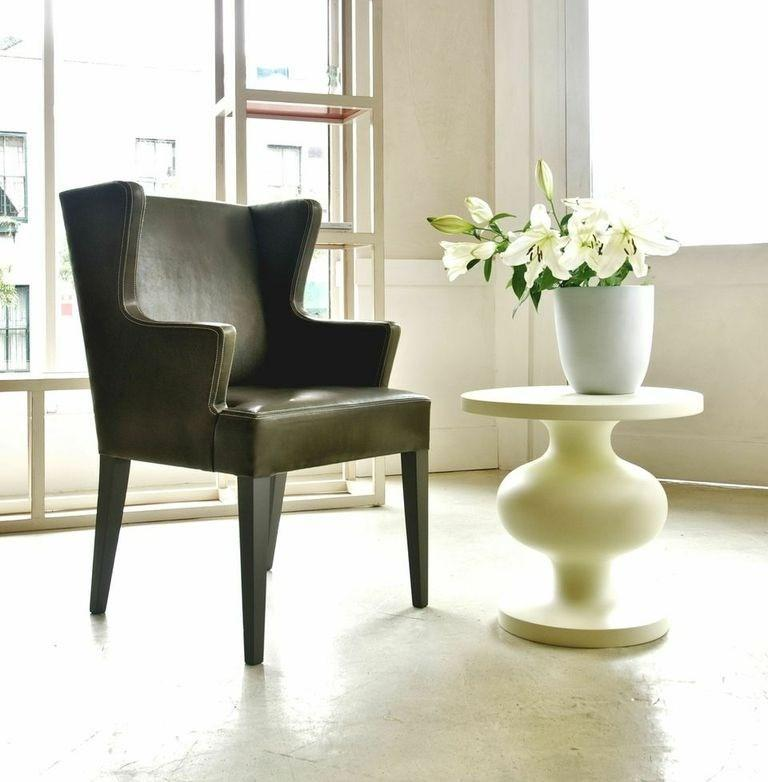 Hand-Crafted Natural, Matte Lacquered or Ebonized Pedestal Side Table, Frank by Wende Reid For Sale