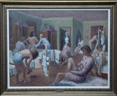 Nude Nurses Dressing - British 50's art Post Impressionist portrait oil painting