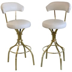 Frank Sinatra Brass Bar Stools by Charles Hollis Jones