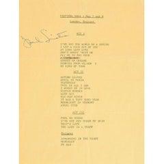 Frank Sinatra Signed Set List