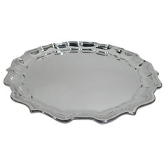 Frank Smith Chippendale Sterling Silver Tray with Piecrust Rim