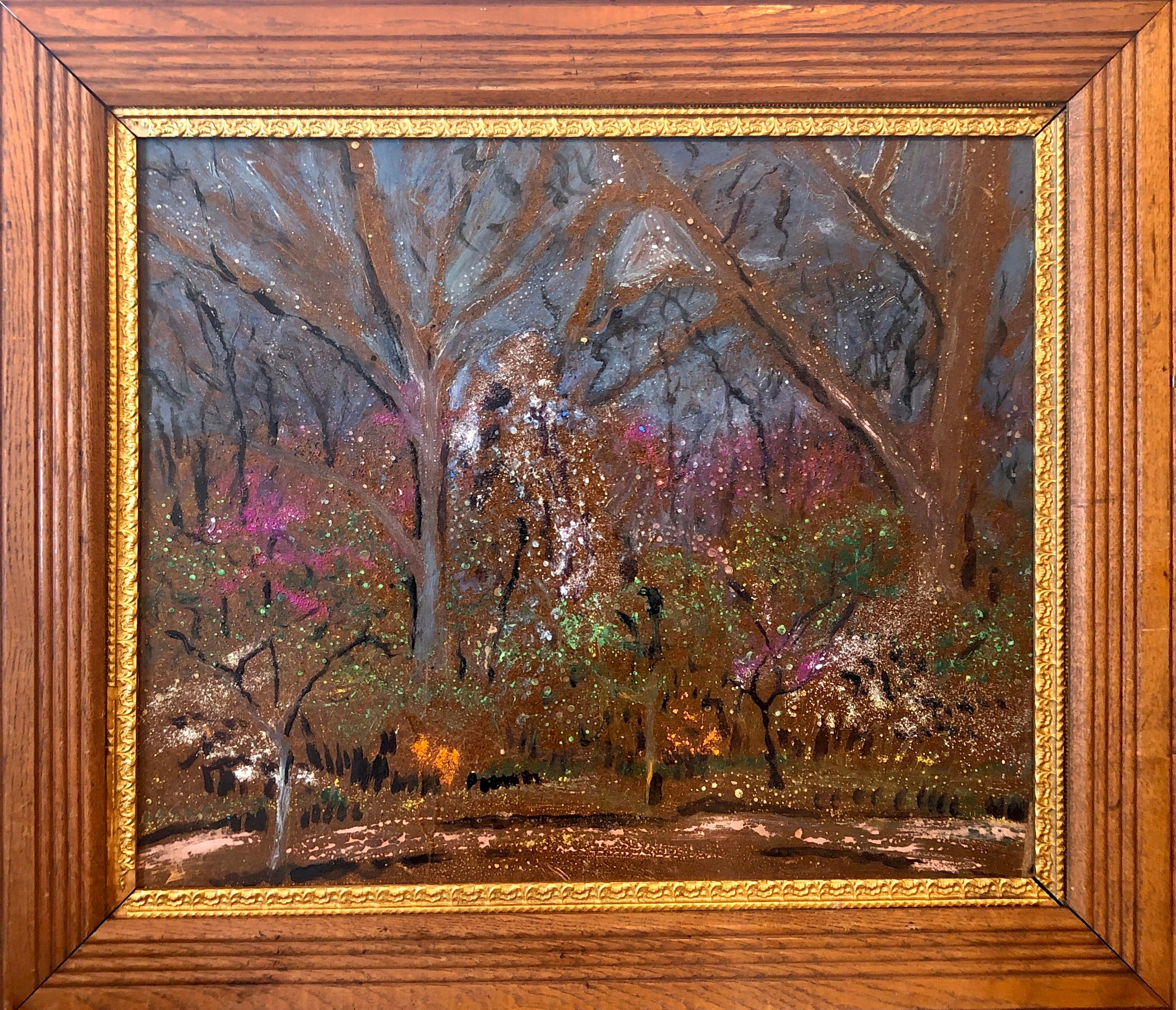Expressionist Night Scene Oil Painting Trees and Flowers Southern Landscape