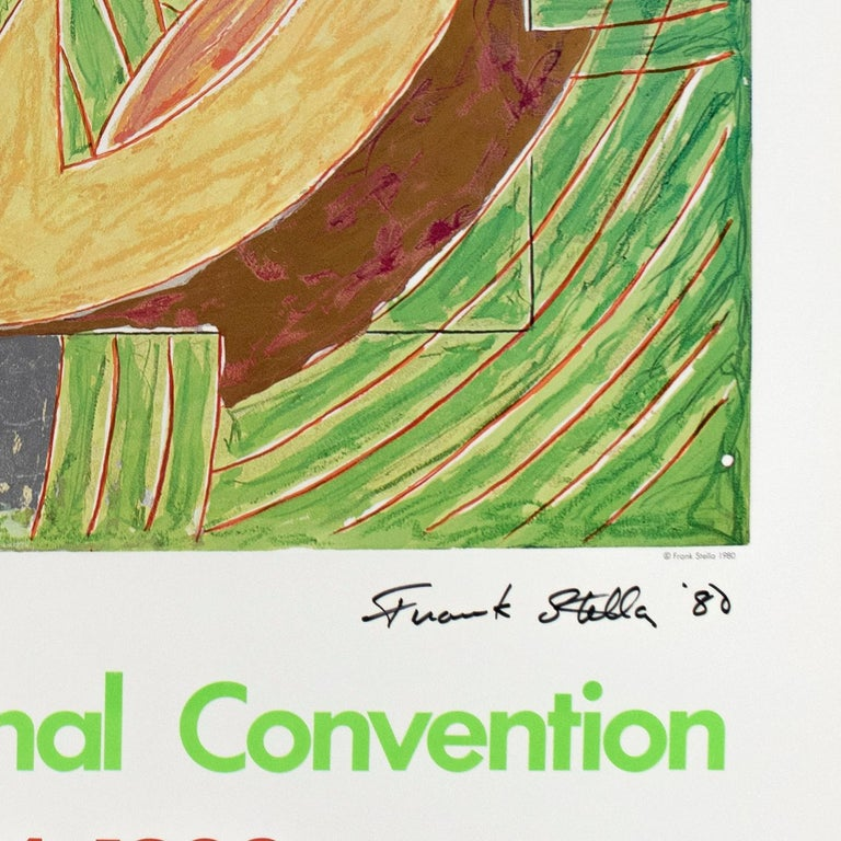 1980 Democratic Convention Frank Stella SIGNED colorful vintage Pop poster  - Beige Abstract Print by Frank Stella