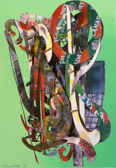 Addison Gallery 1982 SIGNED Frank Stella Vintage Poster, metallic rainbow