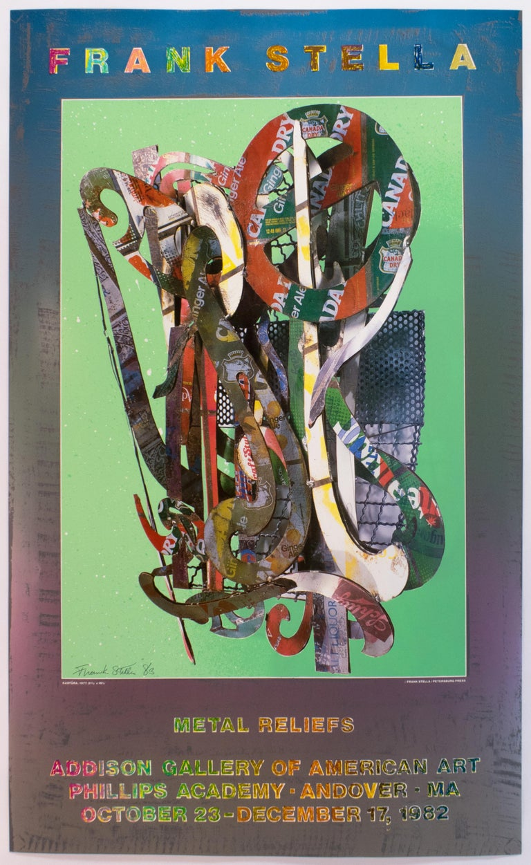 Addison Gallery 1982 SIGNED Frank Stella Vintage Poster, metallic rainbow - Abstract Print by Frank Stella