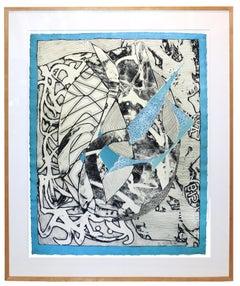 Frank Stella Original Etching Swan in Blue, 1983 Modern Master Blue Chip Print