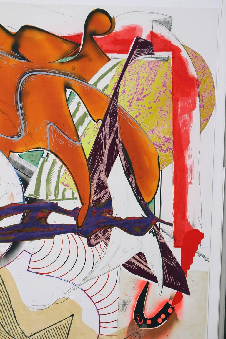 Hark! is a 1988 print by Frank Stella that combines serigraph, lithograph, and linoleum block with hand-coloring and collage. Hark! is part of Frank Stella's monumental Waves series. Waves includes thirteen multi-media prints that focus on Herman