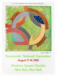 SIGNED Frank Stella 1980 Democratic Convention colorful vintage poster, pop art