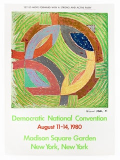 SIGNED Frank Stella 1980 Democratic Convention colorful vintage poster, pop art