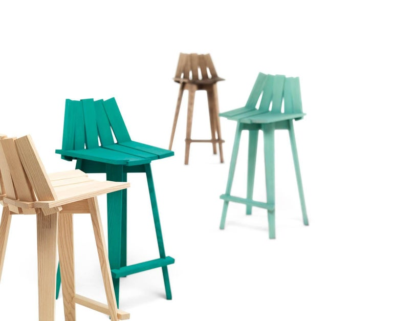 Modern Frank Stool in Teal Finish by Alessandra Baldereschi & Mogg For Sale