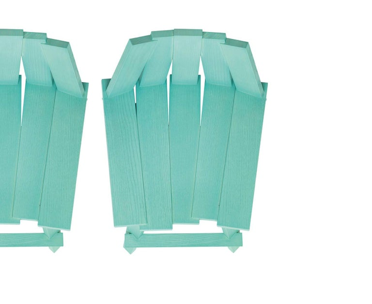 Italian Frank Stool in Teal Finish by Alessandra Baldereschi & Mogg For Sale