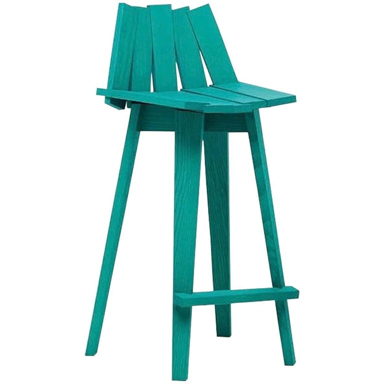 Frank Stool in Teal Finish by Alessandra Baldereschi & Mogg For Sale