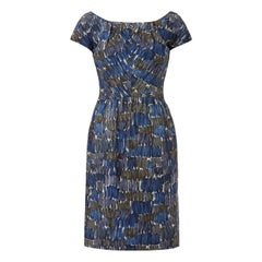 Frank Usher 1950s Printed Abstract Blue Silk Dress