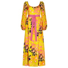 Frank Usher 1960s Psychedelic Yellow Floral Printed Maxi Dress