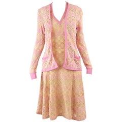 Frank Usher Fine Textured Bouclé Knit Vintage Cardigan & Dress Set, 1970s