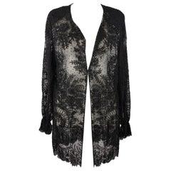 Frank Usher Vintage Black Embellished Beaded Sheer Shirt Blouse Size S