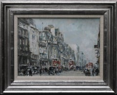 Piccadilly - Post War London - British Impressionist art oil painting cityscape