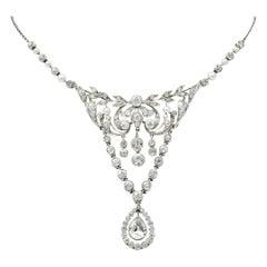 Frank Walter Lawrence Edwardian 7.20 Carat Diamond Platinum Drop Necklace