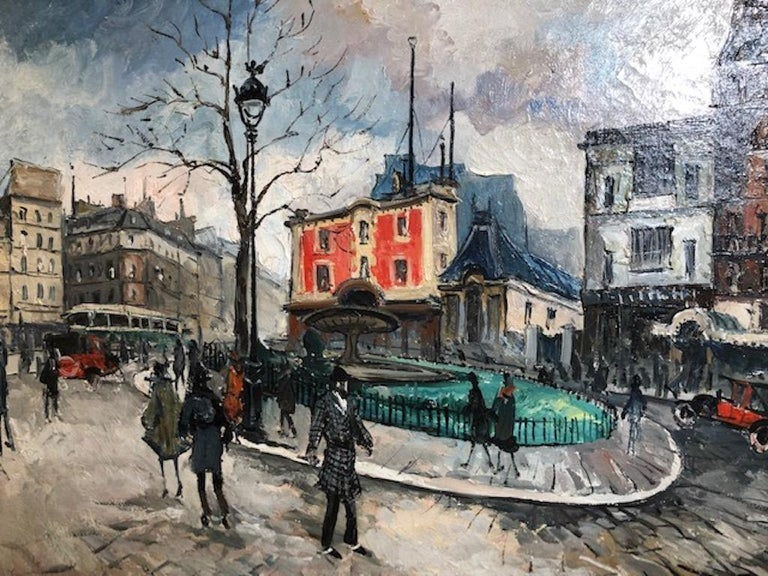 Place Pigalle - Brown Landscape Painting by Frank Will