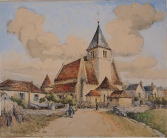 Burgundy : The Roman Church of Druyes - Original watercolor, Handsigned
