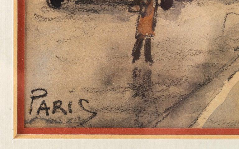 Frank Will, Watercolor, La Place de l'Opéra in Paris, circa 1930s For Sale 3