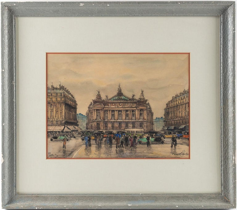 Frank will, watercolor, La Place de l'Opéra in Paris, circa 1930s.  A beautiful watercolor sign on a lower right by Frank Will, French, and American painter and watercolorist. Our watercolor depicting the opera square in Paris in the