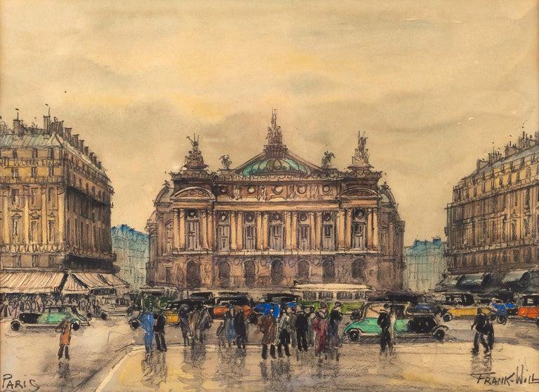 French Frank Will, Watercolor, La Place de l'Opéra in Paris, circa 1930s For Sale
