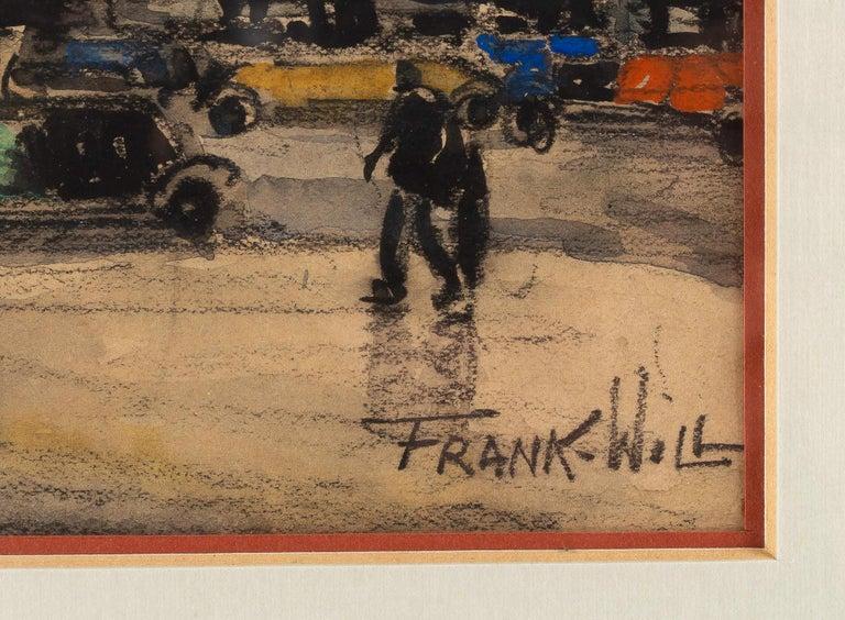 Painted Frank Will, Watercolor, La Place de l'Opéra in Paris, circa 1930s For Sale
