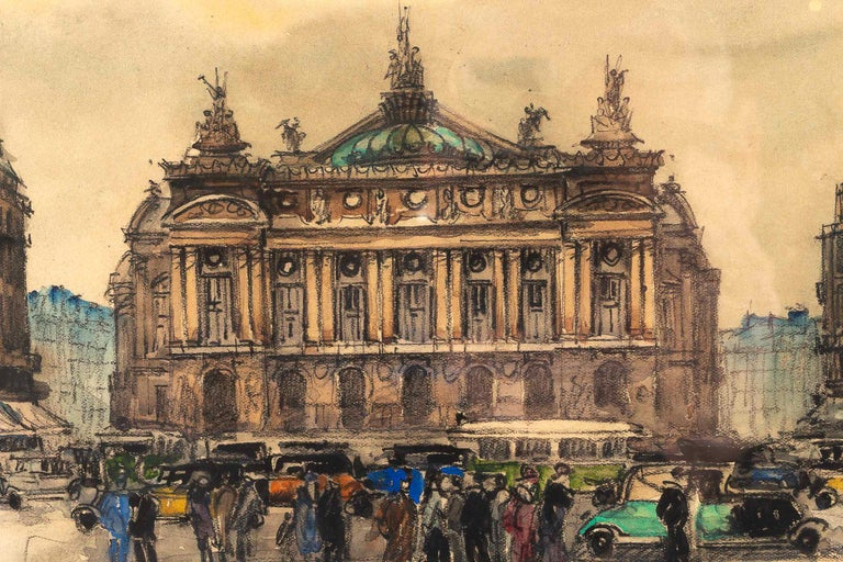 Frank Will, Watercolor, La Place de l'Opéra in Paris, circa 1930s In Good Condition For Sale In Saint Ouen, FR