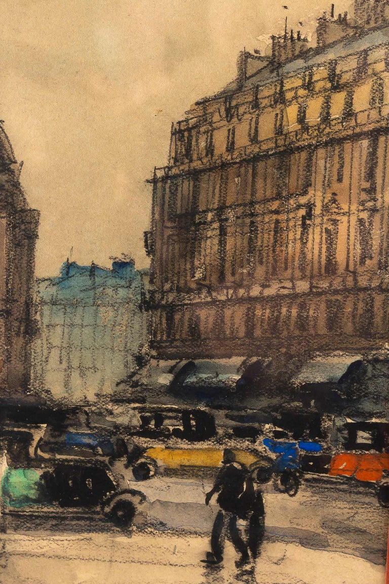 20th Century Frank Will, Watercolor, La Place de l'Opéra in Paris, circa 1930s For Sale