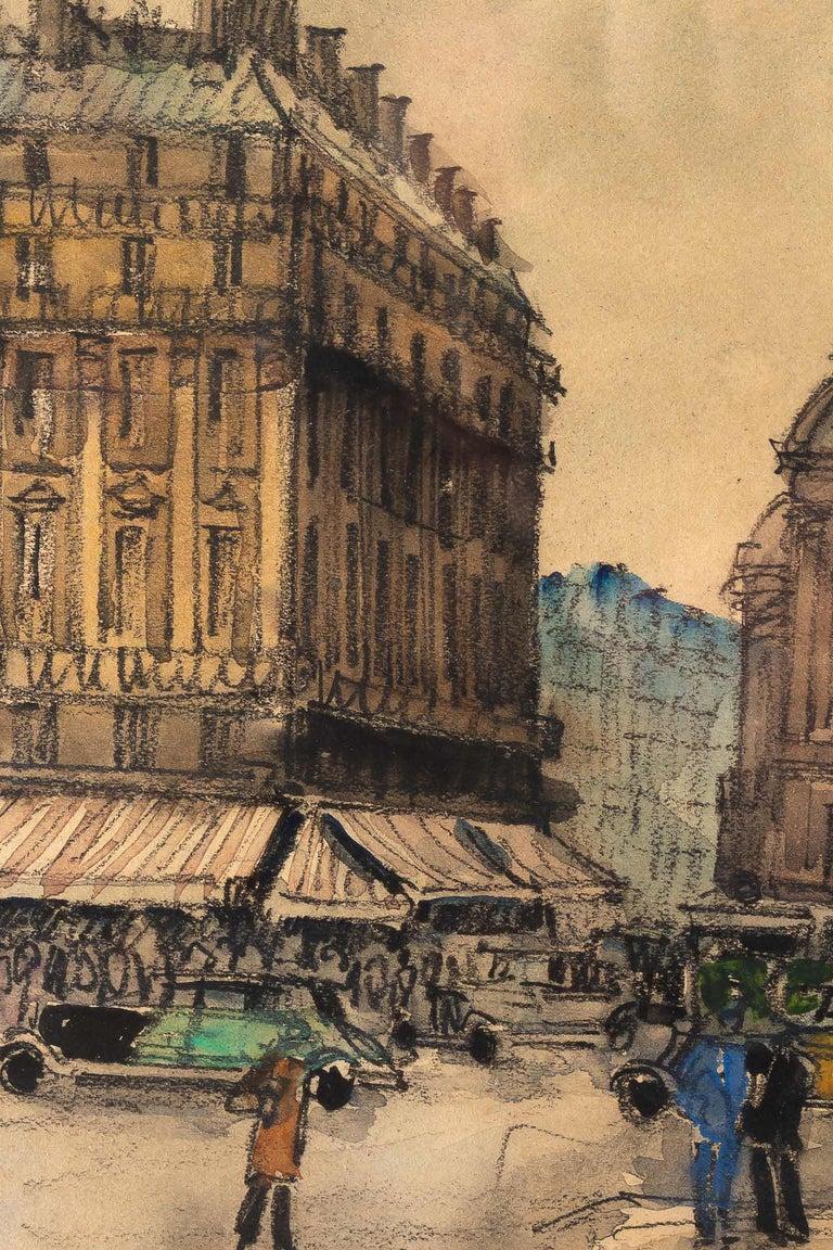 Paper Frank Will, Watercolor, La Place de l'Opéra in Paris, circa 1930s For Sale