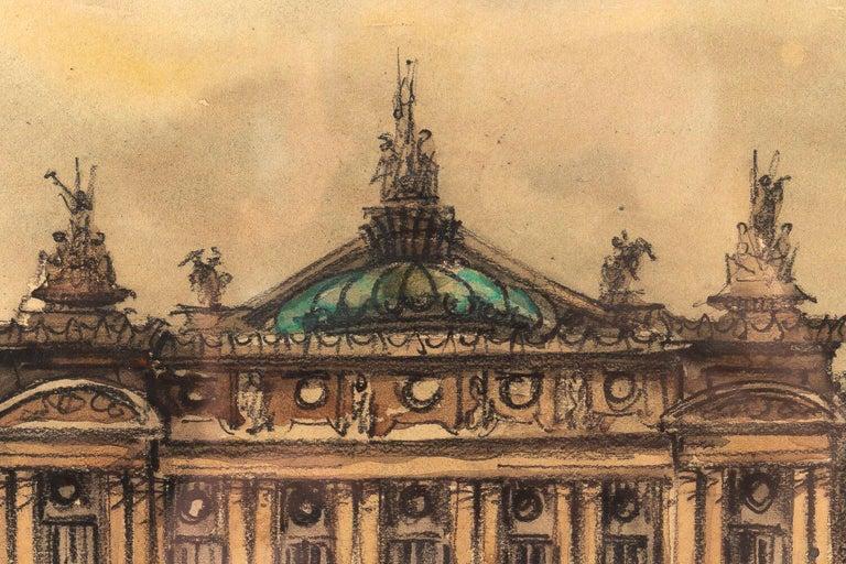 Frank Will, Watercolor, La Place de l'Opéra in Paris, circa 1930s For Sale 2