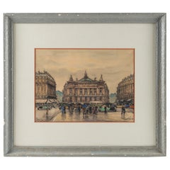 Frank Will, Watercolor, La Place de l'Opéra in Paris, circa 1930s