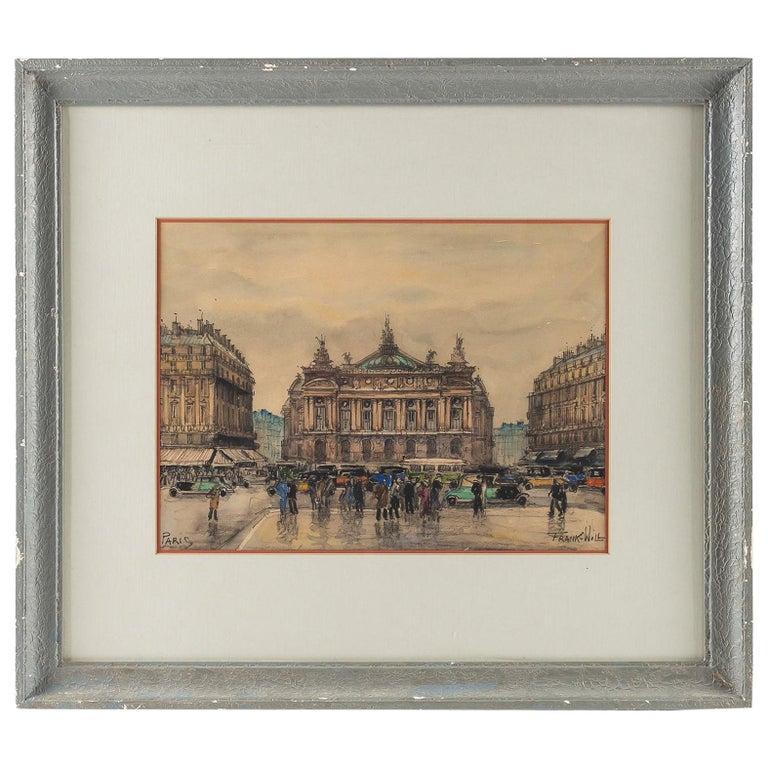 Frank Will, Watercolor, La Place de l'Opéra in Paris, circa 1930s For Sale
