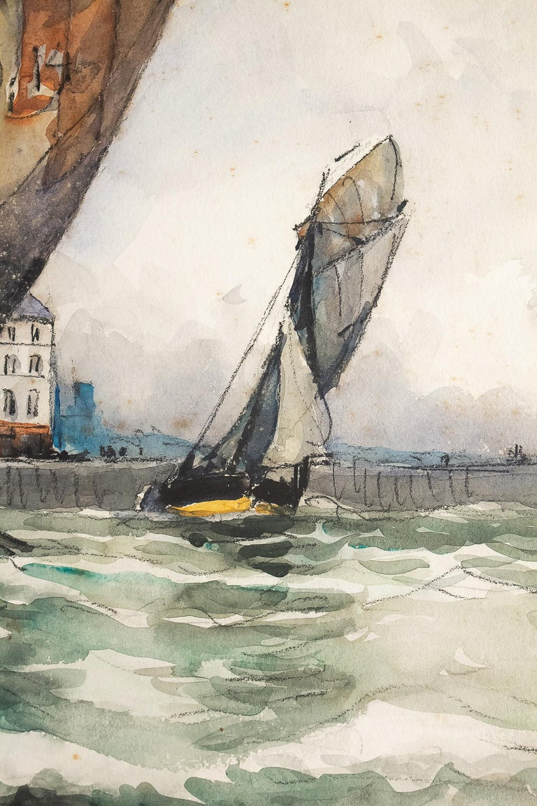 Frank Will, Watercolor, View of Honfleur, circa 1930s For Sale 3