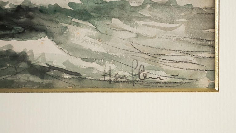 Frank Will, Watercolor, View of Honfleur, circa 1930s For Sale 5